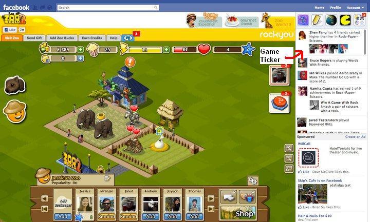 Facebook Update Game Ticker